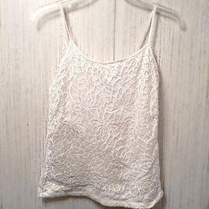 Women's White Crochet Cami Top Size L